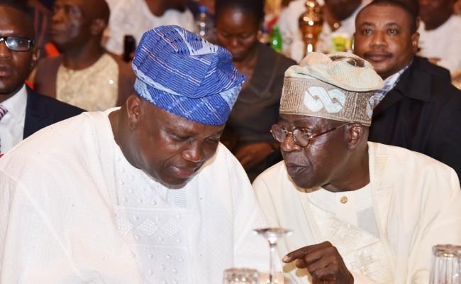 Lagos State Governor, Mr. Akinwunmi Ambode (left), with Awardee of the Sun Man of the Year, Asiwaju Bola Ahmed Tinubu