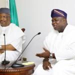 Lagos State Governor, Mr. Akinwunmi Ambode (right), with Minister of Interior, Lt. Gen. Abdulrahman Dambazau (rtd.),