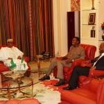 L-R; President Muhammadu Buhari, General Overseer, Redeemed Christian Church of God (RCCG), Pastor Enoch Adejare Adeboye and Vice President Prof Yemi Osinbajo
