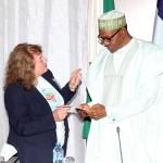 R-L; President Muhammadu Buhari and Vice President, Heart Doctors, Mrs. Eleni Sotiriou