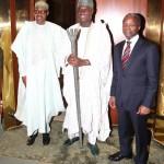 President Muhammadu Buhari, the The Ooni of Ife HRH Oba Adeyeye Ogunwusi Ojaja 11 and Vice President Yemi Osinbajo