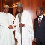 L-R; President Muhammadu Buhari, the The Ooni of Ife HRH Oba Adeyeye Ogunwusi Ojaja 11 and Vice President Yemi Osinbajo