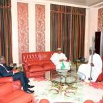 President Muhammadu Buhari (M) flanked by Vice President Yemi Osinbajo left and The Ooni of Ife HRH Oba Adeyeye Ogunwusi Ojaja 11
