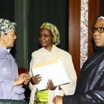 : Amina Mohammed, Zainab Ahmed and Hajia Khadija Bukar Ibrahim as President Buhari presides over The Federal Executive Council