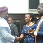 L-R: Lagos State Governor, Mr. Akinwunmi Ambode (left), with Chairman, Employment Trust Fund (ETF), Mrs. Ifueko Omoigui-Okauru (2nd right) and Executive Secretary, ETF, Mr. Akintunde Oyebode (right)