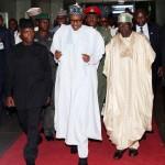 President Muhammadu Buhari (M) flanked by the Vice President Prof Yemi Osinbajo and APC Chieftain and Former of Lagos Senator Bola Tinubu