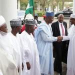 R-L; President Muhammadu Buahri, President of the Senate, Dr Bukola saraki, Zamfara state Governor, Alhaji Abdulaziz Yari, FCT Minister Alhaji Mohammed Bello and Sultan of Sokoto, Alhaji Sa'Ad Abubakar