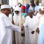 L-R; President Muhammadu Buahri, FCT Minister Alhaji Mohammed Bello, Emir of Kano Alhaji Sanusi Lamido Sanusi and President of the Senate, Dr Bukola saraki