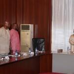 R-L; President Muhammadu Buhari, President of NUPENG, Comrade Igwe Achese, President PENGASSAN, Comrade Olabode JohnsonNational Industrial Relations Officer, Ndukaku Ohaeri and Acting General Secretary Joseph Ogbebor