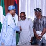 L-R; President Muhammadu Buhari, Minister of State petroleum, Dr. Emmanuel Ibe Kachikwu and PTD Chairman, NUPENG Comrade Oladiti Salimon