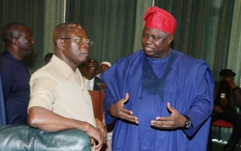 L-R; Edo State Governo, Comrade Adams Oshiomhole and Lagos State Governor, Mr Akinwunmi Ambode
