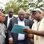 Lagos State Governor, Mr. Akinwunmi Ambode (middle), with member, Lagos state house of Assembly Ikorodu II, Hon Nurudeen Solaja–Saka (left) and Representative of Surveyor General, Mr. Kalejaiye Idris (right)