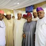 R-L: Lagos State Governor, Mr. Akinwunmi Ambode (2nd left), Speaker, Lagos State House of Assembly, Rt. Hon. Mudashiru Obasa; Senator Adeola Olamilekan; Senator Ganiyu Solomon and Senator Babajide Omoworare