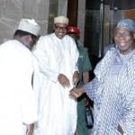 L-R; SCOP Ambassador Lawal kazaure, President Muhammadu buhari and the Former President Olusegun Obasanjo