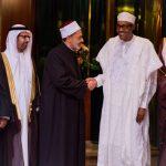 President Buhari with R-L: Shaykh Dr Ibrahim Saleh Alhussainy, H.E. Dr Ahmed El-Tayeb, Dr Ali Rashed Al-Naomi and Dr Ibrahim Hodhod