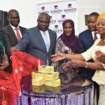 L-R: Lagos State Governor, Mr. Akinwunmi Ambode (4th left), with Chief Executive, Stanbic IBTC, Sola David-Borha; Wife of former Ekiti State Governor, Erelu Angela Adebayo; Managing Director, Airtel Nigeria, Mr. Segun Ogunsanya; Executive Director, Dangote Foundation, Hajiya Halima Dangote, Chairman, Dangote Group, Alhaji Aliko Dangote; Commissioner for Women Affairs & Poverty Alleviation, Hon. Lola Akande and Majority Leader, Lagos State House of Assembly, Hon. Sanai Agunbiade