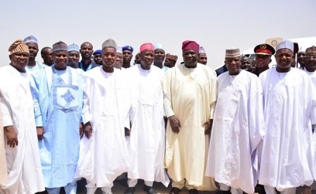 -L: Lagos State Governor, Mr. Akinwunmi Ambode (3rd right), with his Kebbi and Zamfara States counterparts, Alhaji Atiku Bagudu and Alhaji Abdulaziz Yari; Kano State Governor, Dr. Abdullahi  Umar Ganduje; his Katsina and Sokoto States counterparts, Governor Aminu Masari and Governor Aminu Tambuwal and Senator Olamilekan Adeola Solomon