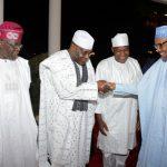 R-L;  President Muhammadu Buhari, Speaker, Rt Hon Yakubu Dogara, Former Vice President Alhaji Atiku Abubakar, APC Chieftain and Former Governor of Lagos State, Senator Bola Ahmed Tinubu