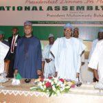 R-L; Speaker, Rt Hon Yakubu Dogara, President Muhammadu Buhari, President of the Senate, Dr Bukola Saraki and Former Vice President Alhaji Atiku Abubakar