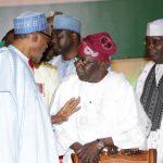 L-R; President Muhammadu Buhari, the APC Chieftain, Senator Bola Tinubu and Fomrer Vice President Alhaji Atiku Abubakar