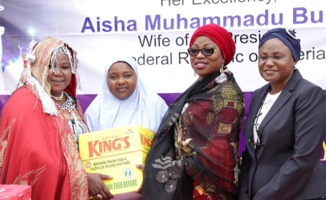 Wife of Lagos State Governor & representative of Hajiya Aisha Buhari, Mrs. Bolanle Ambode (2nd right), with Mrs, Mujibat Kemi Durosinmi-Etti (right); Alhaja Halima  Zakariyahu (2nd left); Alhaja Aisha Shamaki