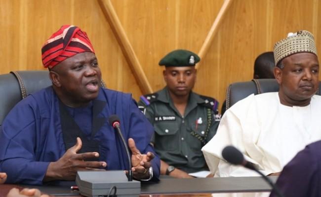 Lagos State Governor, Mr. Akinwunmi Ambode (left), with his Kebbi State counterpart, Governor Atiku Bagudu