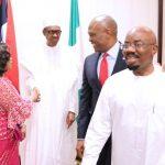 Nigerian businesswoman, Mrs. Folorunsho Alakija, President Muhammadu Buhari, Chairman Heirs Holding, Mr Tony Elumelu and Chairman Zenith Bank Plc, Mr Jim Ovia