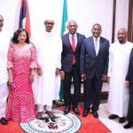 L-R; President Muhammadu Buhari flanked by Businesswoman Mrs Folorunsho Alakija and Chairman Heirs Holding, Mr Tony Elumelu and other Nigerian Businessmen