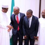 L-R; Presiden Muhammadu Buhari, Chairman Heirs Holding, Mr Tony Elumelu, Chairman Dangote Group of Company, Alhaji Aliko Dangote and Chairman Zenith Bank Plc, Mr Jim Ovia