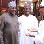 R-L; President Muhammadu Buhari, APC National Secertary, Hon Mai Mala Buni and SGF Engr Babachir David Lawal