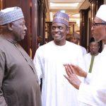 R-L; President Muhammadu Buhari, APC National Secretary, Hon Mai Mala Buni and SGF Engr Babachir David Lawal