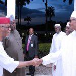 R-L; President Muhammadu Buhari, Former Vice President, Alhaji Atiku Abubakar, Alhaji Darazo Ya'u, SGF Engr Babachir David Lawal and National Chairman APC Chief John Odigie Oyegun
