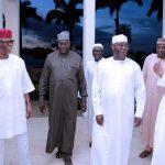 R-L; President Muhammadu Buhari, Former Vice President, Alhaji Atiku Abubakar, SGF Engr Babachir David Lawal and National Chairman APC Chief John Odigie Oyegun