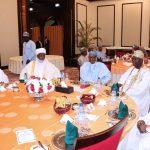 Shehu of Bornu, Shehu al-Hajj Muhammad al-Amîn ibn Muhammad al-Kânemî, Ooni of Ife HRH Adeyeye Ogunwusi, President Muhammadu Buhari, Sultan of Sokoto, Sultan Muhammadu Sa'ad Abubakar IV  and Obi of Onitshia, His Majesty, Nnaemeka Achebe
