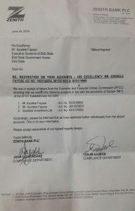 Zenith letter