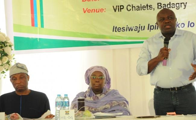 R-L: Lagos State Governor, Mr. Akinwunmi Ambode; Deputy Governor, Dr. (Mrs.) Oluranti Adebule and Secretary to the State Government, Mr. Tunji Bello