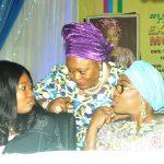 R-L:  Wife of Lagos State Governor, Mrs. Bolanle Ambode, with former Commissioner for Education, Mrs. Olayinka Oladunjoye and Coordinator, Hope For Women Foundation (HOFOWEM), Ms. Oyefunke Adeleke