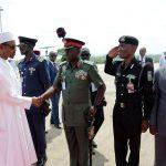 L-R; President Muhammadu Buhari, cOMMANDER Brigade of Guards, Brig General MS Yusuf, DCP, SK Akande and AD SSS