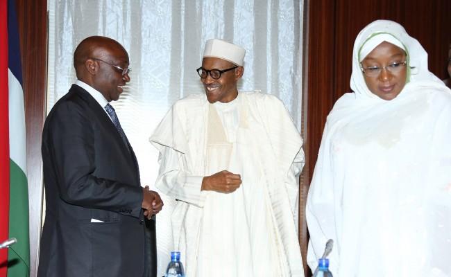 R-L;  Minister of State Foreign Affairs, Hajiya Kadija Ibrahim Bukar Abba, President Muhammadu Buhari and Former President ADB/ Special Envoy African Union Peace Fund, Dr Donald Kaberuka