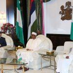 R-L;  Nigerian Minister of State foreign Affairs, Hajiya Khadija Ibrahim Bukar Abba, President Muhammadu Buhari and Canadian High Commissioner to Nigeria, Mr Perry John Calderwood