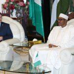 R-L;   President Muhammadu Buhari and Canadian High Commissioner to Nigeria, Mr Perry John Calderwood