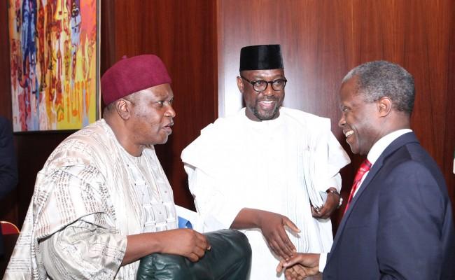 R-L; Vice President Prof Yemi Osinbajo, Taraba State Governor, Mr. Darius Dickson Ishaku and Niger State Governor, Abubakar Sani Bello