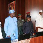 R-L;  President Muhammadu Buhari, Vice President Prof Yemi Osinbajo, SGF, Engr Babachir David Lawal and Chief of Staff, Mallam Abba Kyari