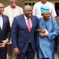 L-R: Lagos State Governor, Mr. Akinwunmi Ambode (2nd left); Secretary to the State Government, Mr. Tunji Bello; Representative of Victoria Island/Ikoyi Residents Associations (VIIRA), Dr. Ishola Salami and Sole Administrator, Ikoyi/Obalende LCDA, Mr. Goke Ona-Olawale