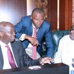 R-L; Minister of State Power, Alhaji Mustapha Baba Shehuri, Minister of Niger Delta, Pastor Uguru Usani Uguru and Minister of Power, Works and Housing, Barrister Babatunde Fashola