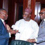 L-R; Minister of Nigeri Delta, Pastor Uguru Usani Uguru, Minister of Solid Minerals, Alhaji Abubakar Bawa Bwari and Minister of State Petroleum, Dr Ibe Emmanuel Kachukwu