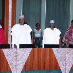 R-L; Minister of Finance, Mrs Kemi Adeosun, Minister of FCT Alhaji Mohammed Musa Bello, Minister of State Environment, Alhaji Ibrahim Usman Jibril and Minister of Environment, Hajiya Amina Mohammed