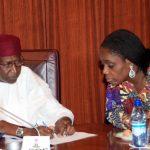 L-R; Chief of Staff Mallam Abba Kyari and Minister of Finance, Mrs Kemi Adeosun