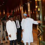 President Muhammadu Buhari receives the former President Dr goodluck Ebele Jonathan