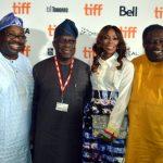 L-R: Publisher, Ovation Magazine, Mr. Dele Momodu; Lagos State Attorney General & Commissioner for Justice, Mr. Adeniji Kazeem; Chief Executive Officer, Ebonylife TV, Mo Abudu and Senator Tokunbo Afikuyomi